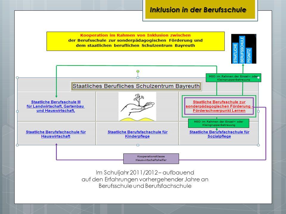 Inklusion in der Berufsschule Im Schuljahr 2011/2012 – aufbauend auf den Erfahrungen vorhergehender Jahre an Berufsschule und Berufsfachschule