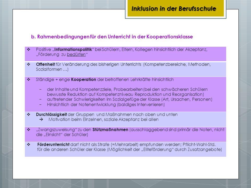 b. Rahmenbedingungen für den Unterricht in der Kooperationsklasse Inklusion in der Berufsschule Positive Informationspolitik bei Schülern, Eltern, Kol