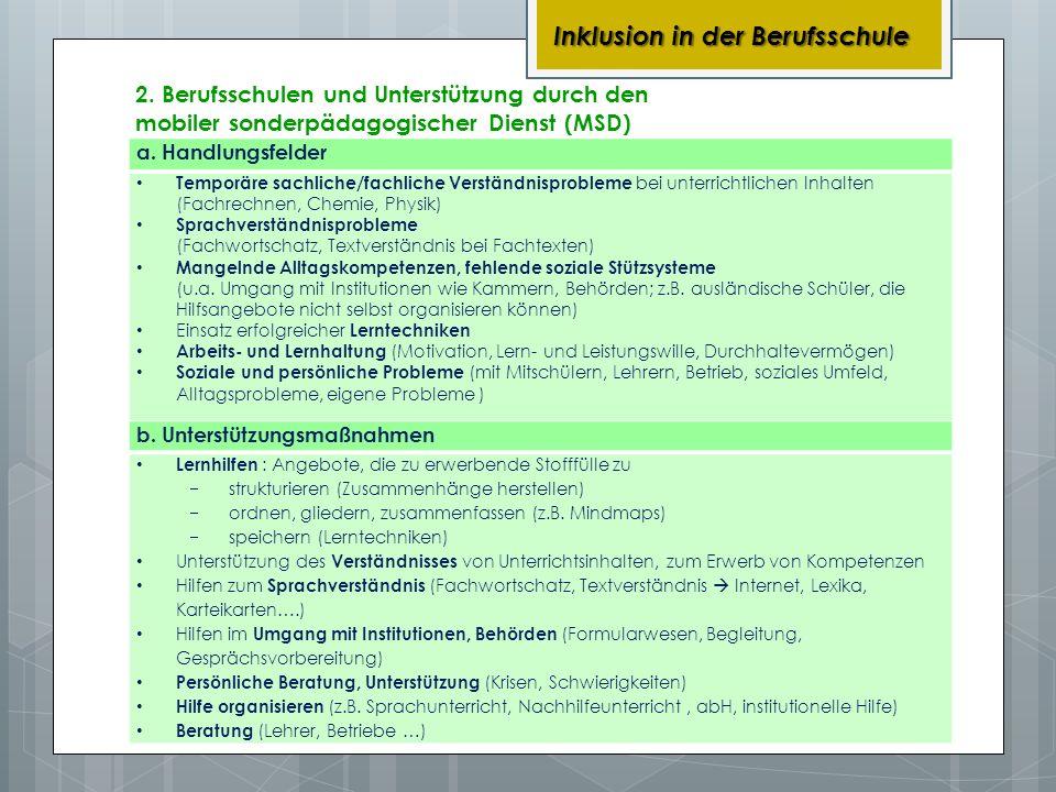 2. Berufsschulen und Unterstützung durch den mobiler sonderpädagogischer Dienst (MSD) Inklusion in der Berufsschule a. Handlungsfelder Temporäre sachl