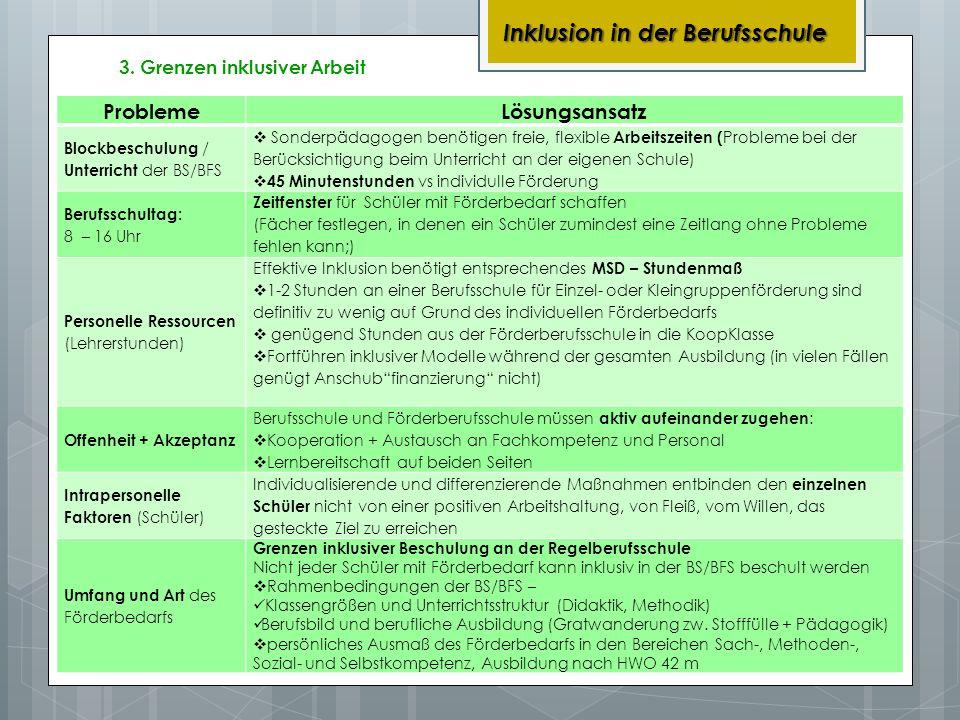 3. Grenzen inklusiver Arbeit Inklusion in der Berufsschule ProblemeLösungsansatz Blockbeschulung / Unterricht der BS/BFS Sonderpädagogen benötigen fre