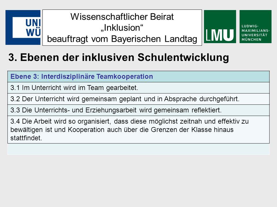 Wissenschaftlicher Beirat Inklusion beauftragt vom Bayerischen Landtag 3. Ebenen der inklusiven Schulentwicklung Ebene 3: Interdisziplinäre Teamkooper