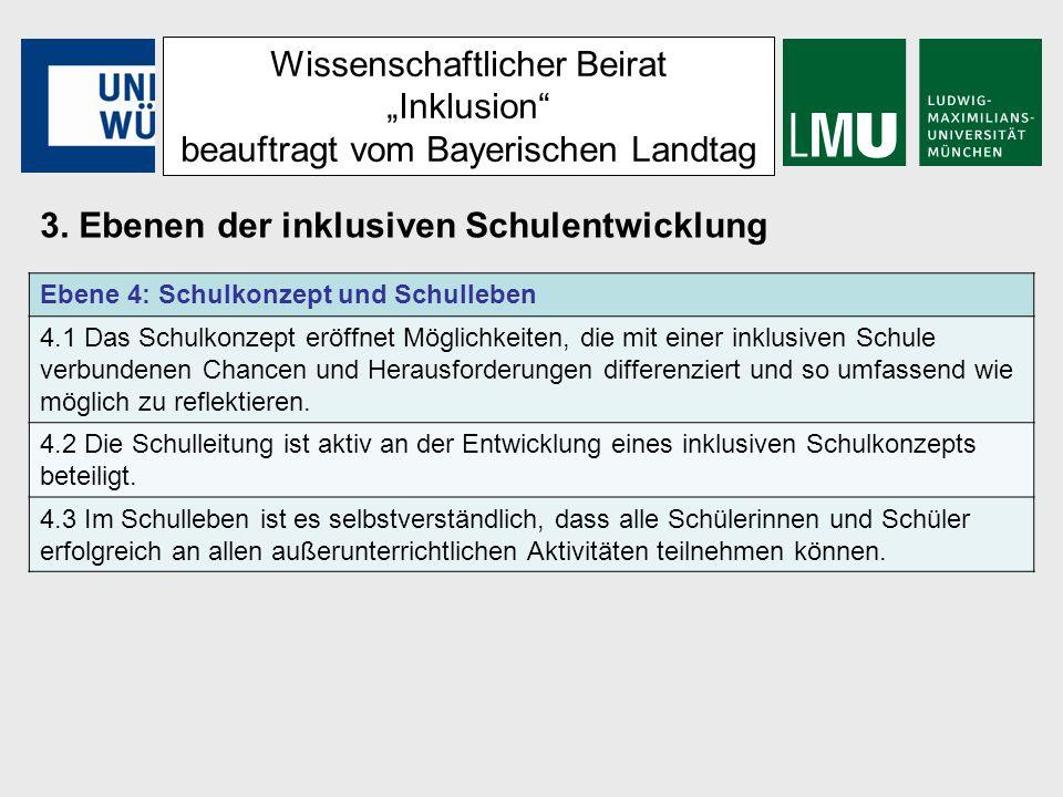 Wissenschaftlicher Beirat Inklusion beauftragt vom Bayerischen Landtag 3. Ebenen der inklusiven Schulentwicklung Ebene 4: Schulkonzept und Schulleben