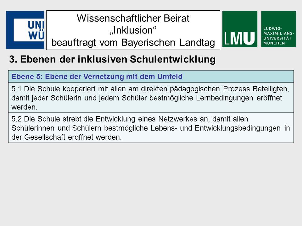 Wissenschaftlicher Beirat Inklusion beauftragt vom Bayerischen Landtag 3. Ebenen der inklusiven Schulentwicklung Ebene 5: Ebene der Vernetzung mit dem