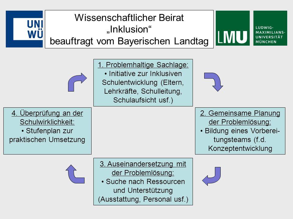 Wissenschaftlicher Beirat Inklusion beauftragt vom Bayerischen Landtag 1. Problemhaltige Sachlage: Initiative zur Inklusiven Schulentwicklung (Eltern,