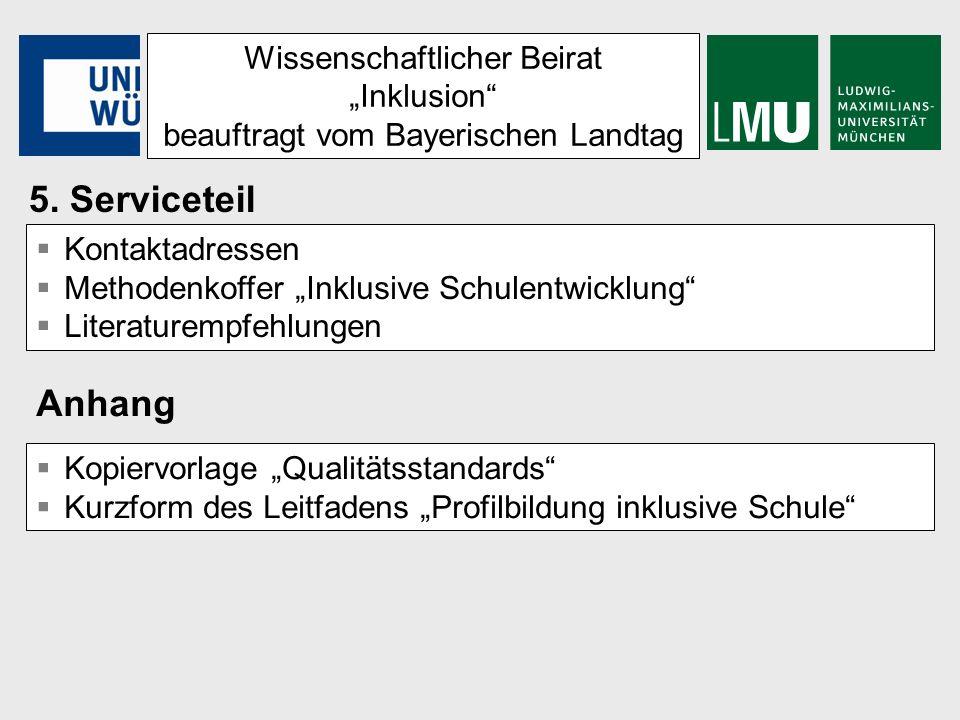 Wissenschaftlicher Beirat Inklusion beauftragt vom Bayerischen Landtag Kontaktadressen Methodenkoffer Inklusive Schulentwicklung Literaturempfehlungen