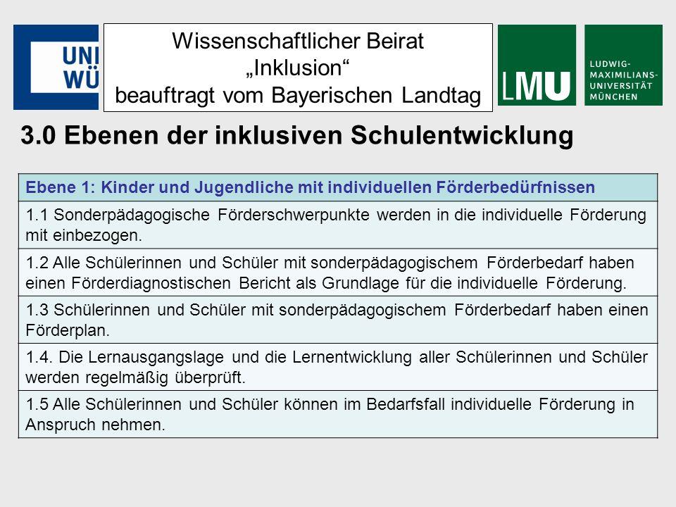 Wissenschaftlicher Beirat Inklusion beauftragt vom Bayerischen Landtag 3.0 Ebenen der inklusiven Schulentwicklung Ebene 2: Inklusionsorientierter Unterricht 2.1 Inklusionsorientierter Unterricht ist eingebettet in eine adaptive Förder- und Entwicklungsplanung.