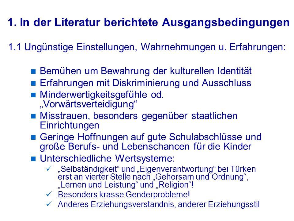 1. In der Literatur berichtete Ausgangsbedingungen Bemühen um Bewahrung der kulturellen Identität Erfahrungen mit Diskriminierung und Ausschluss Minde