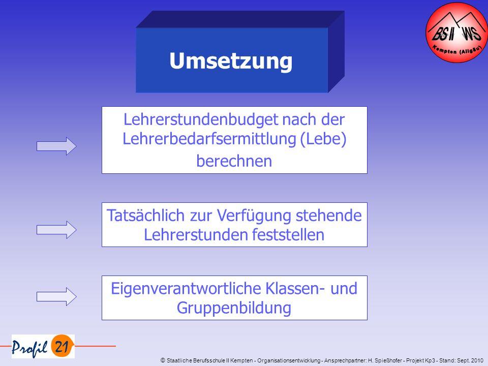 © Staatliche Berufsschule II Kempten - Organisationsentwicklung - Ansprechpartner: H. Spießhofer - Projekt Kp3 - Stand: Sept. 2010 Umsetzung Lehrerstu