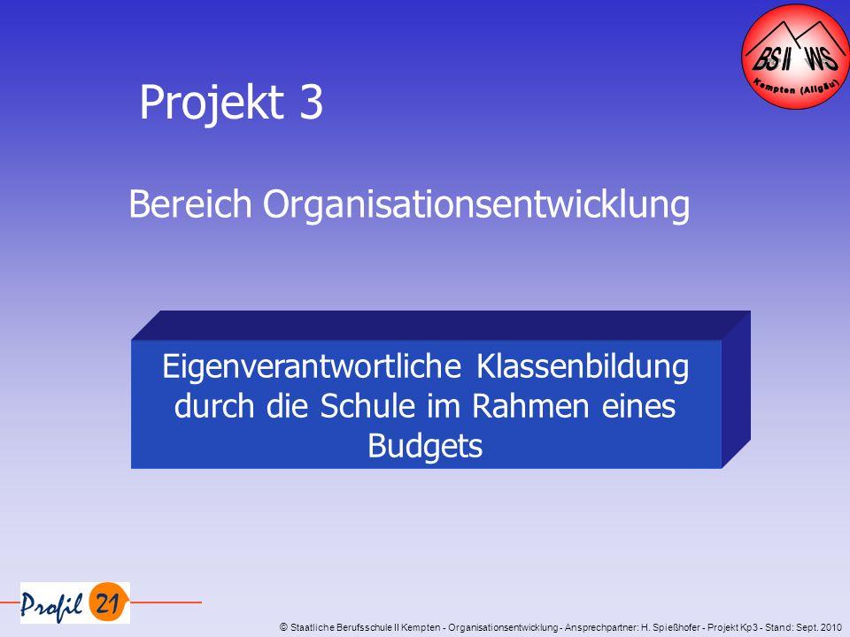 Projekt 3 Bereich Organisationsentwicklung Eigenverantwortliche Klassenbildung durch die Schule im Rahmen eines Budgets