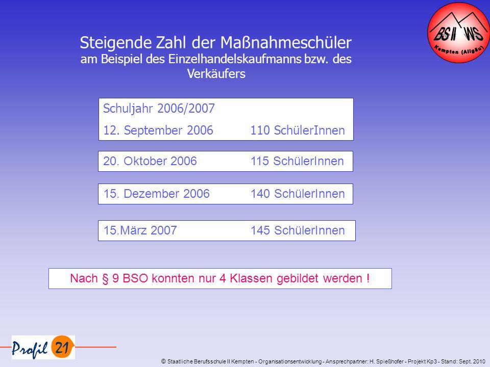 © Staatliche Berufsschule II Kempten - Organisationsentwicklung - Ansprechpartner: H. Spießhofer - Projekt Kp3 - Stand: Sept. 2010 Steigende Zahl der