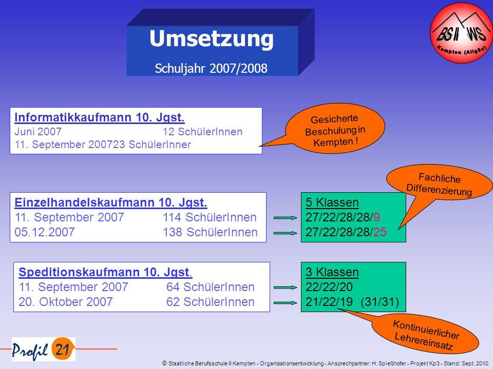 © Staatliche Berufsschule II Kempten - Organisationsentwicklung - Ansprechpartner: H. Spießhofer - Projekt Kp3 - Stand: Sept. 2010 Umsetzung Schuljahr