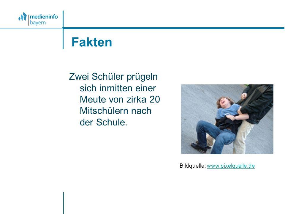 Fakten Zwei Schüler prügeln sich inmitten einer Meute von zirka 20 Mitschülern nach der Schule. Bildquelle: www.pixelquelle.dewww.pixelquelle.de