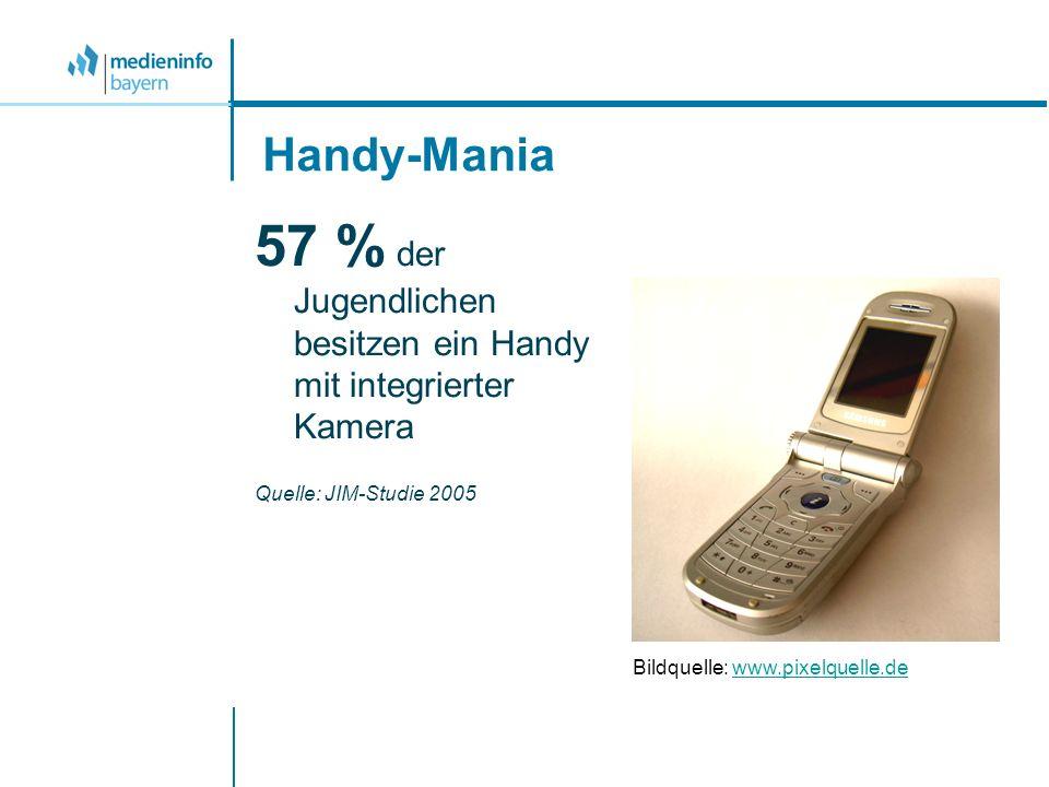 Handy-Mania 57 % der Jugendlichen besitzen ein Handy mit integrierter Kamera Quelle: JIM-Studie 2005 Bildquelle: www.pixelquelle.dewww.pixelquelle.de