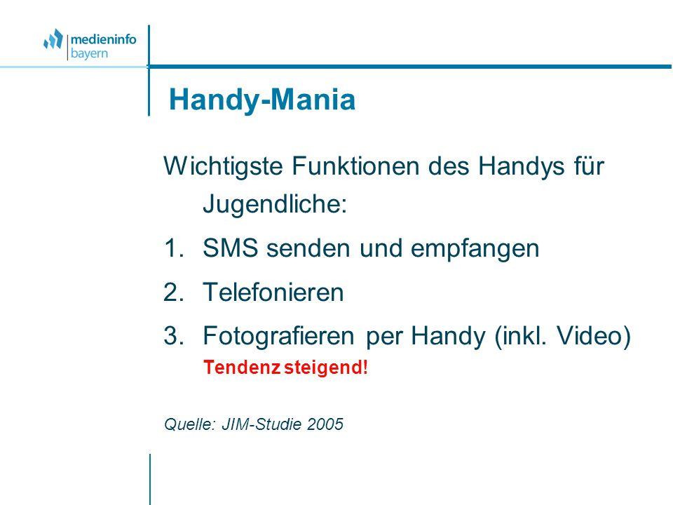 Handy-Mania Wichtigste Funktionen des Handys für Jugendliche: 1.SMS senden und empfangen 2.Telefonieren 3.Fotografieren per Handy (inkl. Video) Tenden