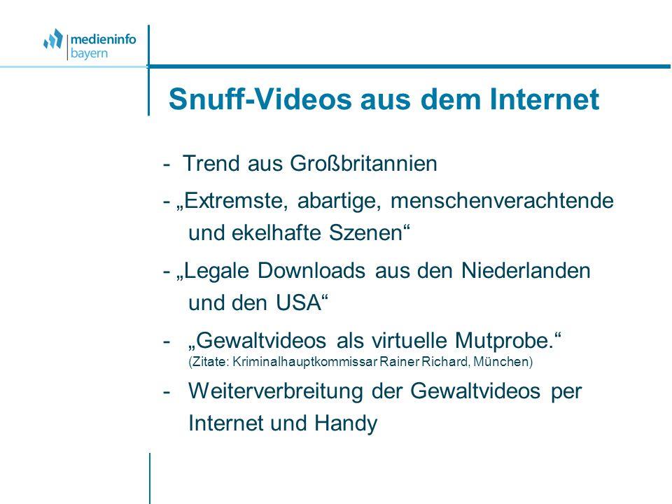 Snuff-Videos aus dem Internet - Trend aus Großbritannien - Extremste, abartige, menschenverachtende und ekelhafte Szenen - Legale Downloads aus den Ni