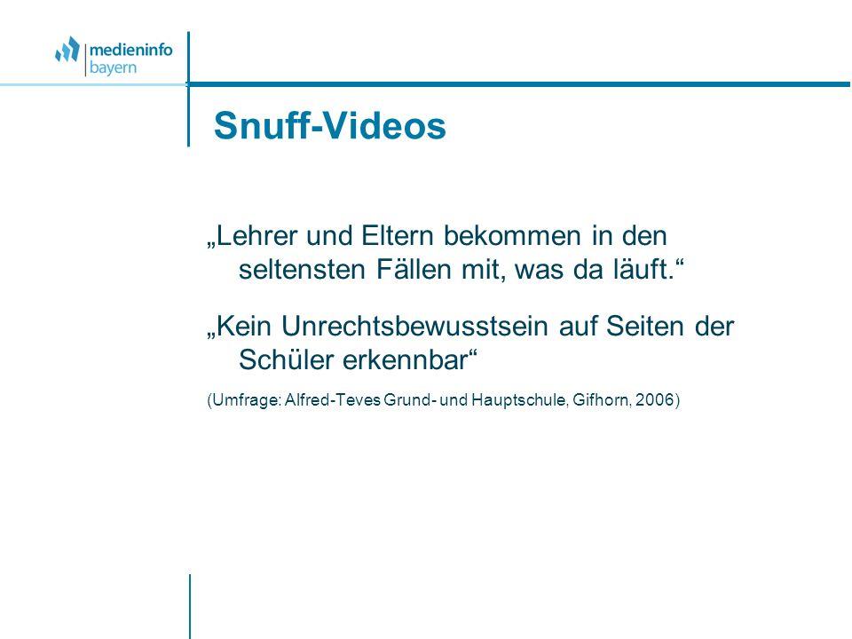Snuff-Videos Lehrer und Eltern bekommen in den seltensten Fällen mit, was da läuft. Kein Unrechtsbewusstsein auf Seiten der Schüler erkennbar (Umfrage
