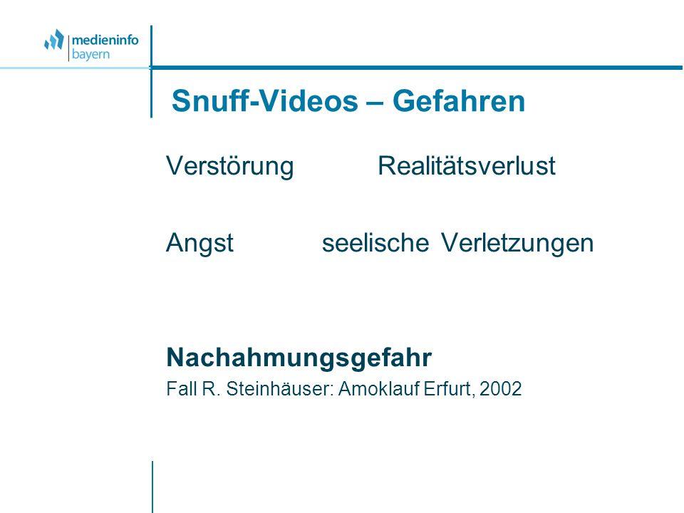 Snuff-Videos – Gefahren Verstörung Realitätsverlust Angst seelische Verletzungen Nachahmungsgefahr Fall R. Steinhäuser: Amoklauf Erfurt, 2002