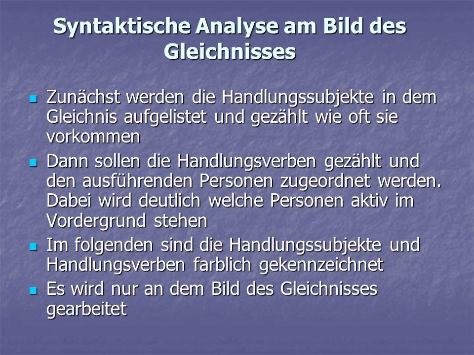 Syntaktische Analyse am Bild des Gleichnisses Zunächst werden die Handlungssubjekte in dem Gleichnis aufgelistet und gezählt wie oft sie vorkommen Zun