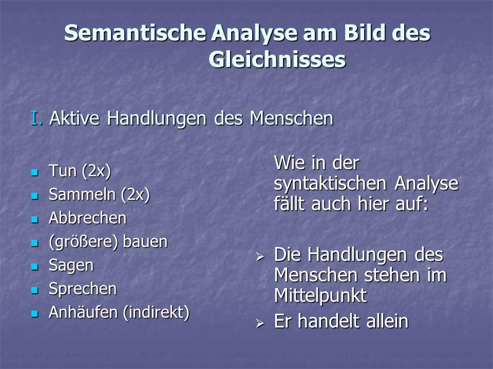 Semantische Analyse am Bild des Gleichnisses Tun (2x) Tun (2x) Sammeln (2x) Sammeln (2x) Abbrechen Abbrechen (größere) bauen (größere) bauen Sagen Sag