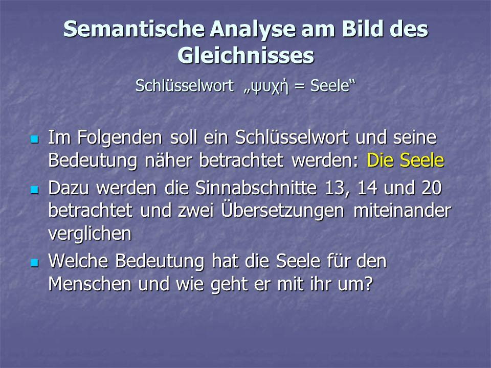 Semantische Analyse am Bild des Gleichnisses Schlüsselwort ψυχή = Seele Im Folgenden soll ein Schlüsselwort und seine Bedeutung näher betrachtet werde