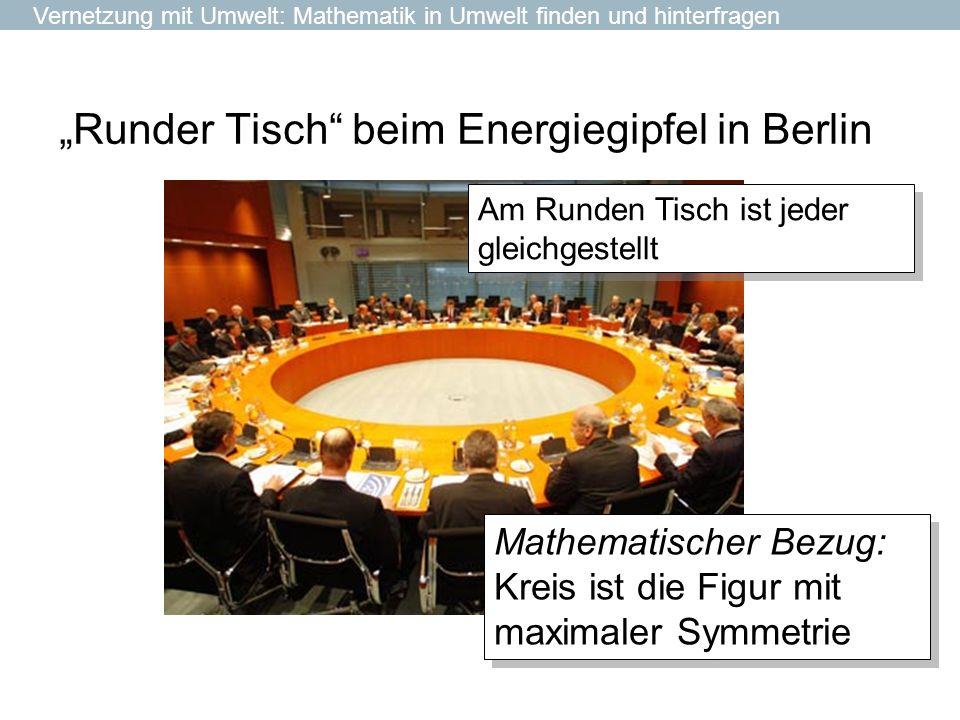 Runder Tisch beim Energiegipfel in Berlin Am Runden Tisch ist jeder gleichgestellt Vernetzung mit Umwelt: Mathematik in Umwelt finden und hinterfragen