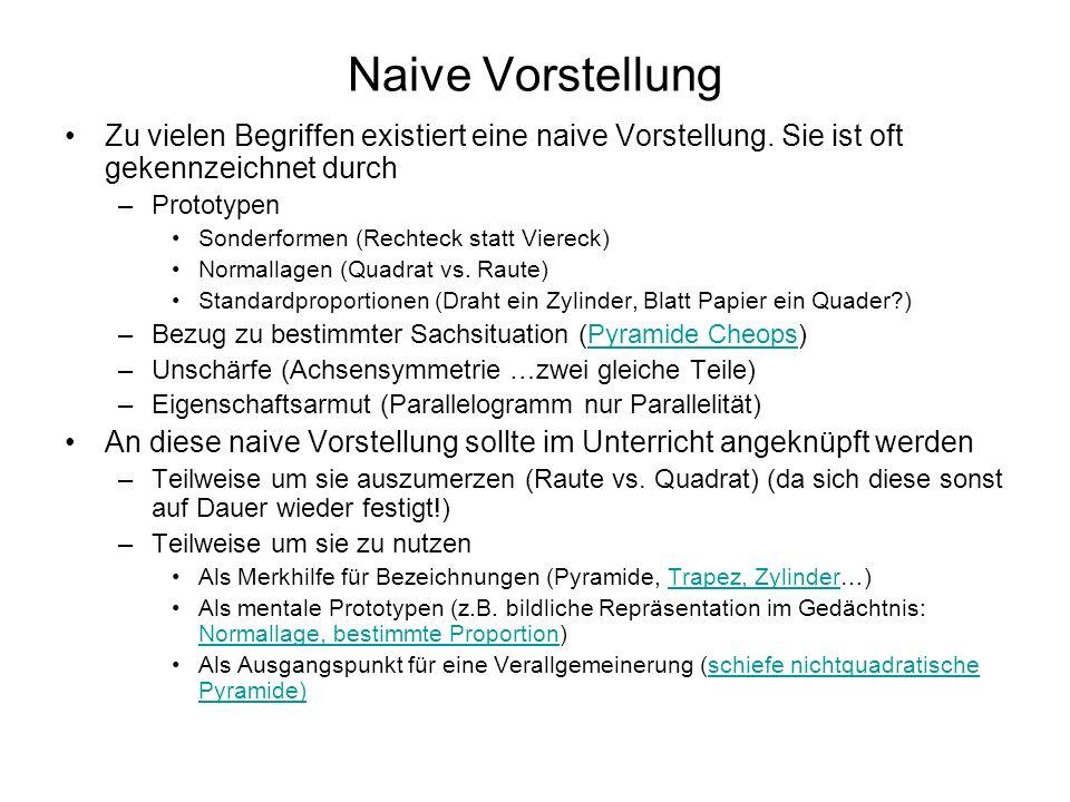 Naive Vorstellung Zu vielen Begriffen existiert eine naive Vorstellung. Sie ist oft gekennzeichnet durch –Prototypen Sonderformen (Rechteck statt Vier