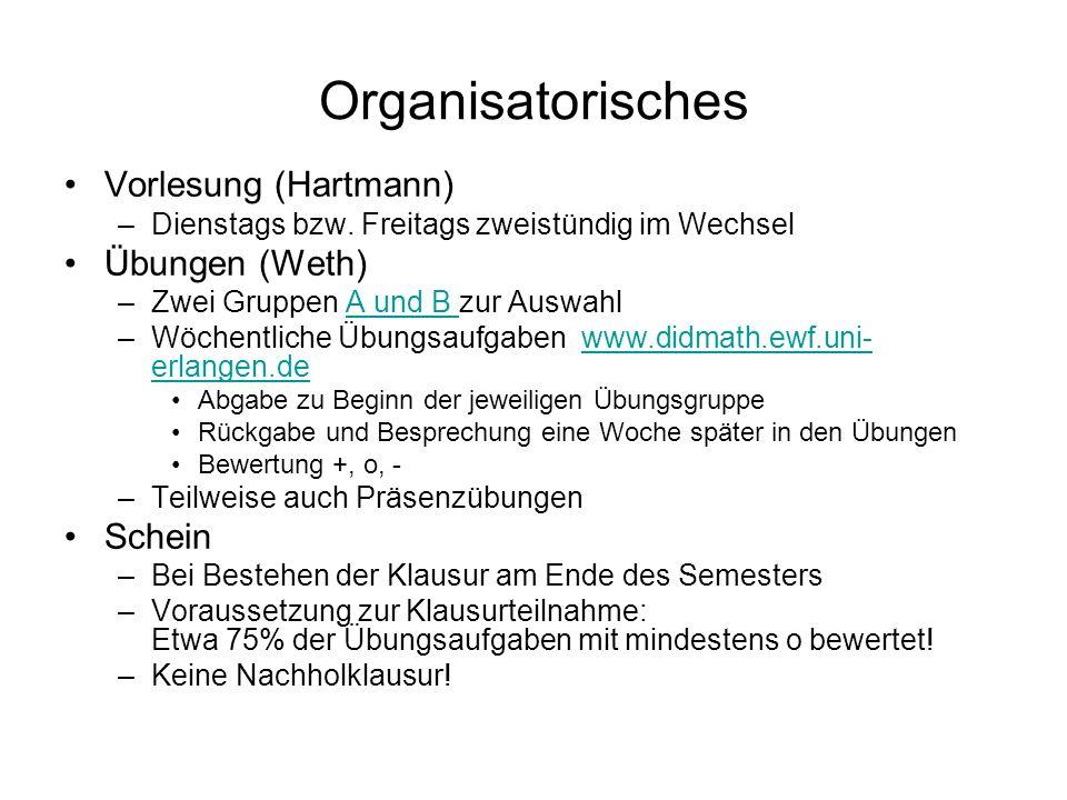 Organisatorisches Vorlesung (Hartmann) –Dienstags bzw. Freitags zweistündig im Wechsel Übungen (Weth) –Zwei Gruppen A und B zur AuswahlA und B –Wöchen