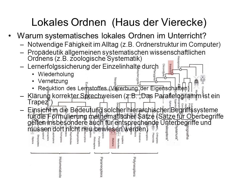 Lokales Ordnen (Haus der Vierecke) Warum systematisches lokales Ordnen im Unterricht? –Notwendige Fähigkeit im Alltag (z.B. Ordnerstruktur im Computer