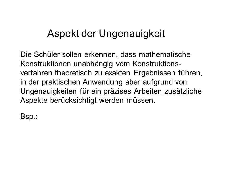Aspekt der Ungenauigkeit Die Schüler sollen erkennen, dass mathematische Konstruktionen unabhängig vom Konstruktions- verfahren theoretisch zu exakten