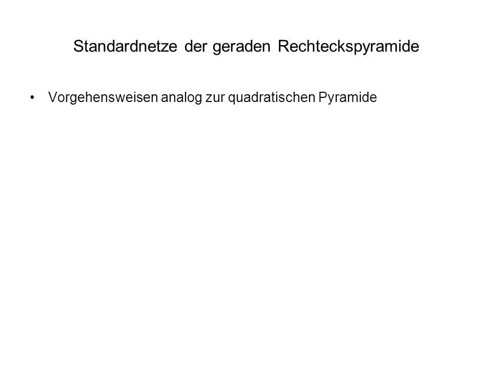 Standardnetze der geraden Rechteckspyramide Vorgehensweisen analog zur quadratischen Pyramide