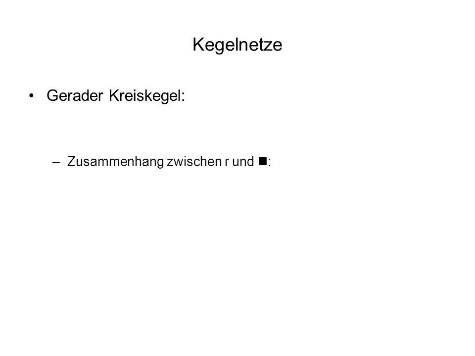 Kegelnetze Gerader Kreiskegel: –Zusammenhang zwischen r und n: