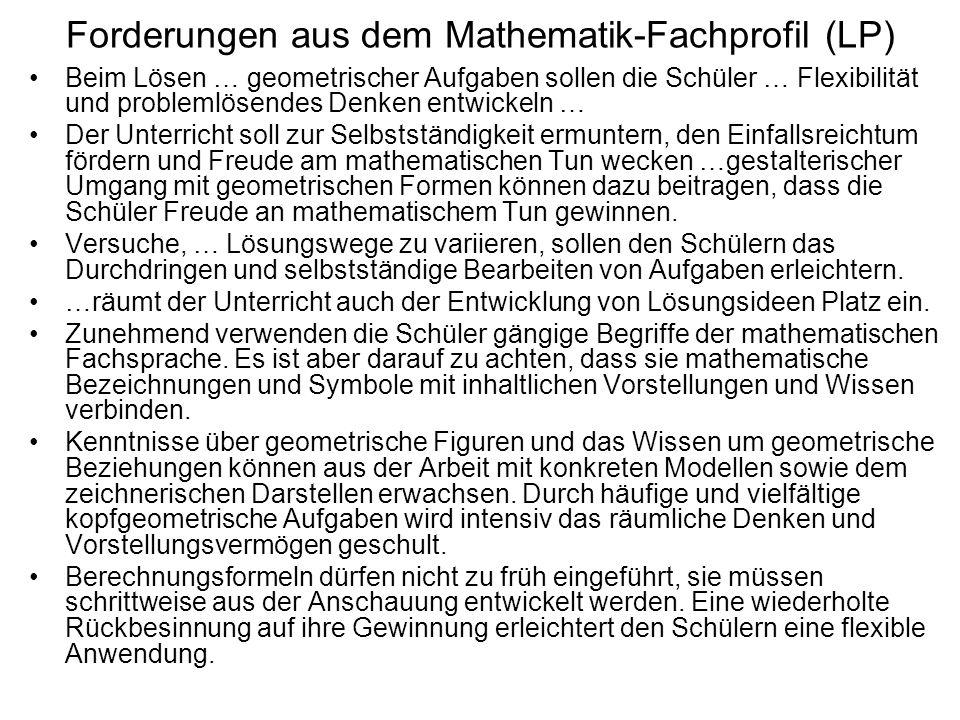 Forderungen aus dem Mathematik-Fachprofil (LP) Beim Lösen … geometrischer Aufgaben sollen die Schüler … Flexibilität und problemlösendes Denken entwic