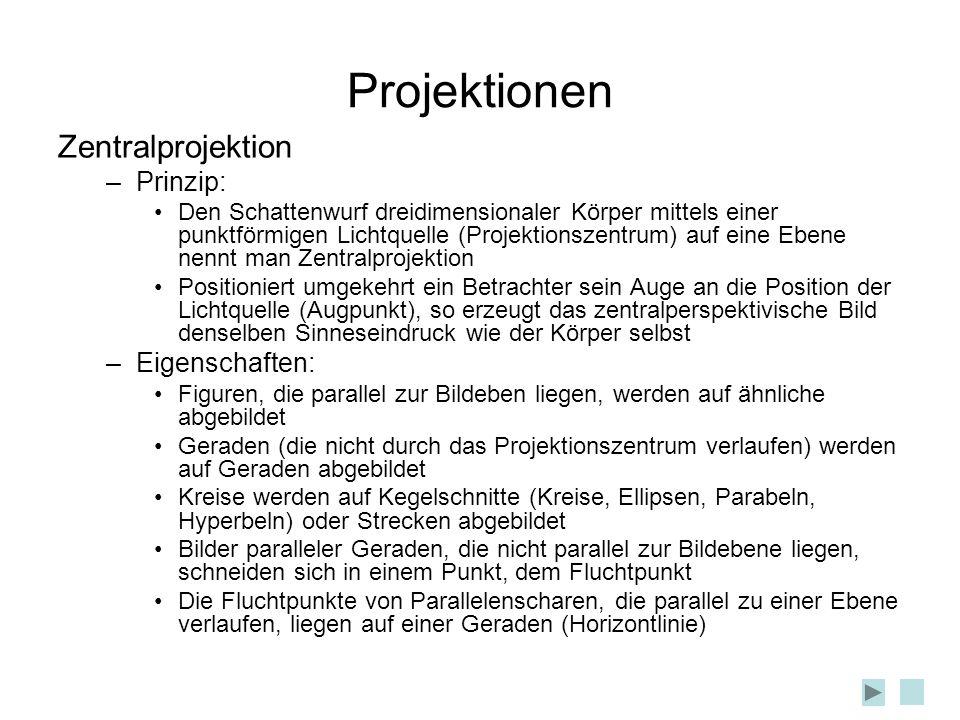 Projektionen Zentralprojektion –Prinzip: Den Schattenwurf dreidimensionaler Körper mittels einer punktförmigen Lichtquelle (Projektionszentrum) auf ei