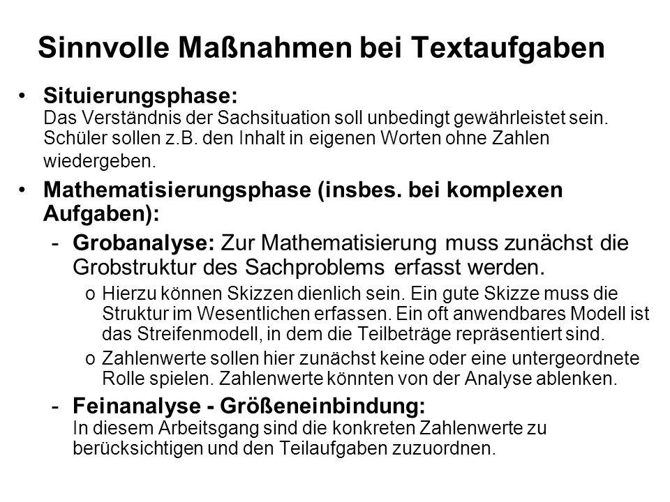 Sinnvolle Maßnahmen bei Textaufgaben Situierungsphase: Das Verständnis der Sachsituation soll unbedingt gewährleistet sein. Schüler sollen z.B. den In