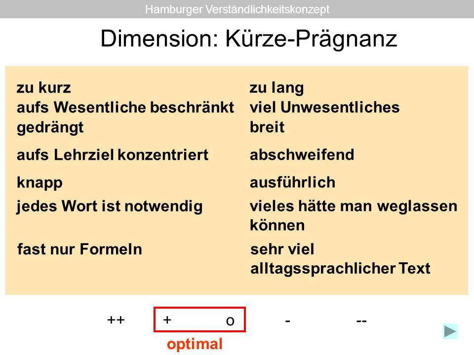 Dimension: Kürze-Prägnanz zu kurz zu lang aufs Wesentliche beschränkt viel Unwesentliches gedrängt breit aufs Lehrziel konzentriert abschweifend knapp
