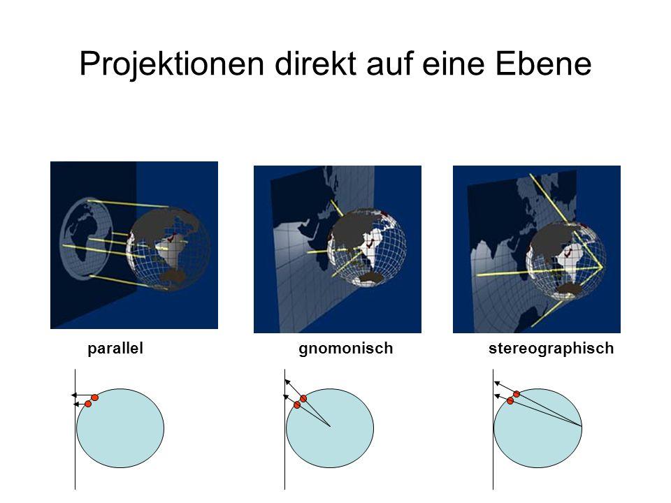 Projektionen direkt auf eine Ebene parallel gnomonischstereographisch