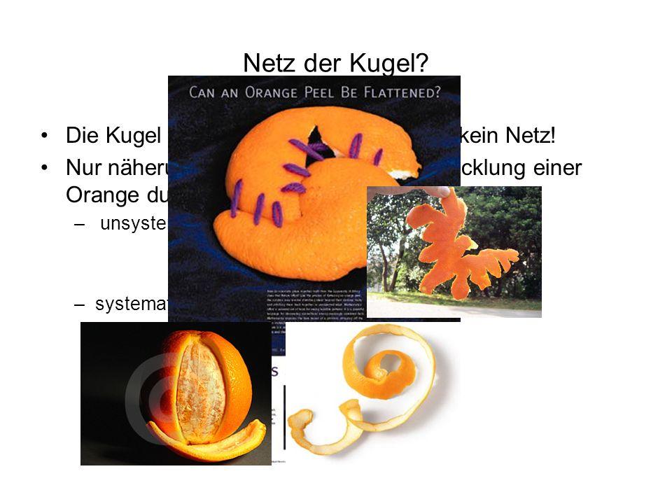 Netz der Kugel? Die Kugel ist nicht abwickelbar; Sie hat kein Netz! Nur näherungsweise kann z.B. die Abwicklung einer Orange durch Schälen – unsystema