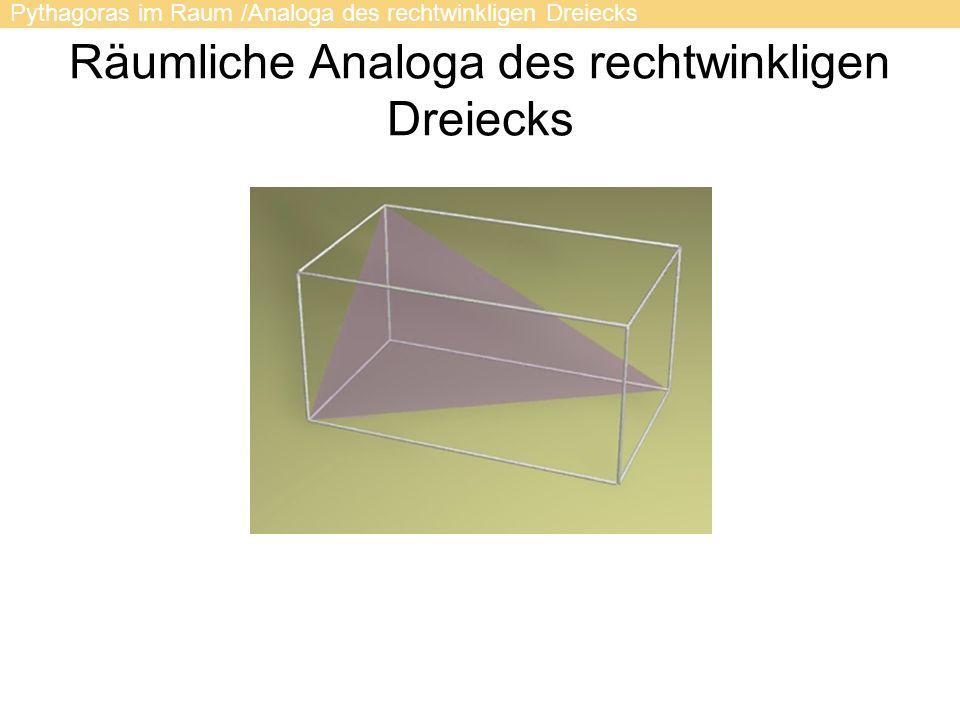 Pythagoras im Raum /Analoga des rechtwinkligen Dreiecks Räumliche Analoga des rechtwinkligen Dreiecks