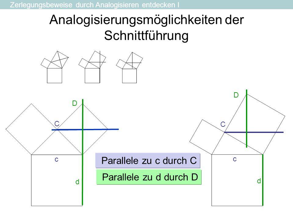 Analogisierungsmöglichkeiten der Schnittführung C c C c Parallele zu d durch D Parallele zu c durch C d D d D Zerlegungsbeweise durch Analogisieren en