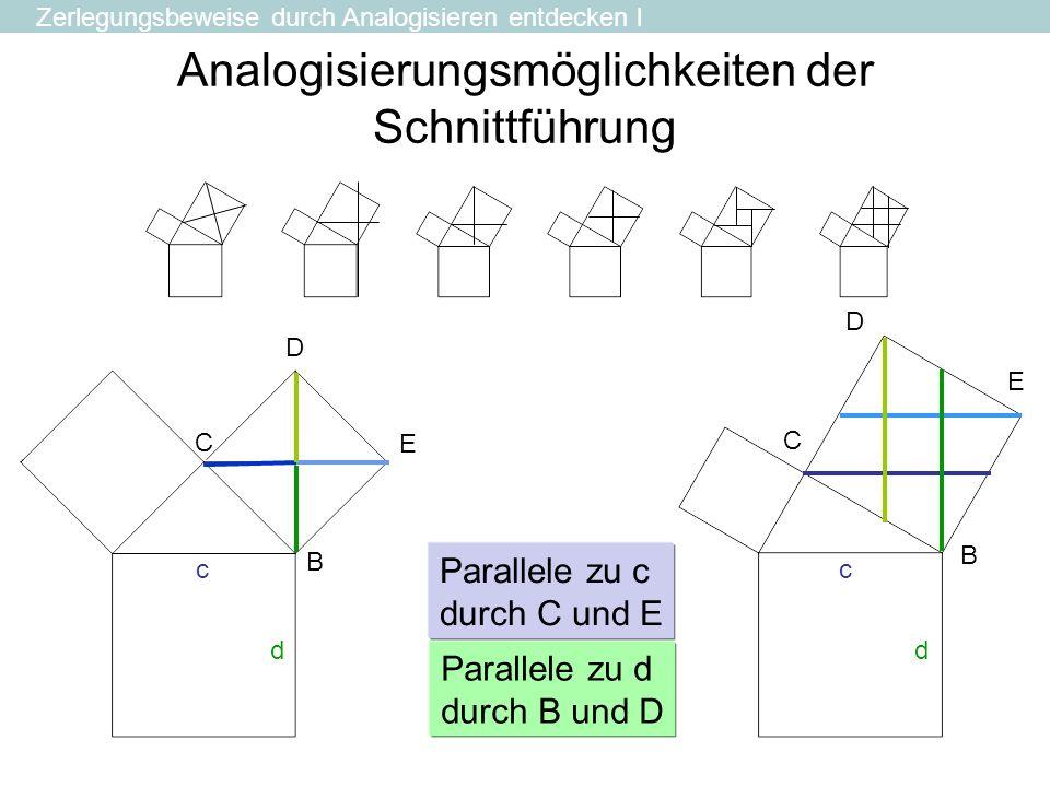 Analogisierungsmöglichkeiten der Schnittführung B C E D c d B C E D Parallele zu d durch B und D Parallele zu c durch C und E c d Zerlegungsbeweise du