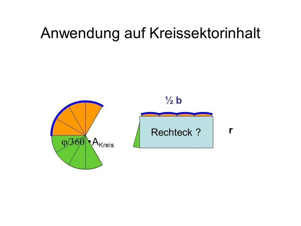Anwendung auf Kreissektorinhalt ½ b A Kreis Rechteck ? r