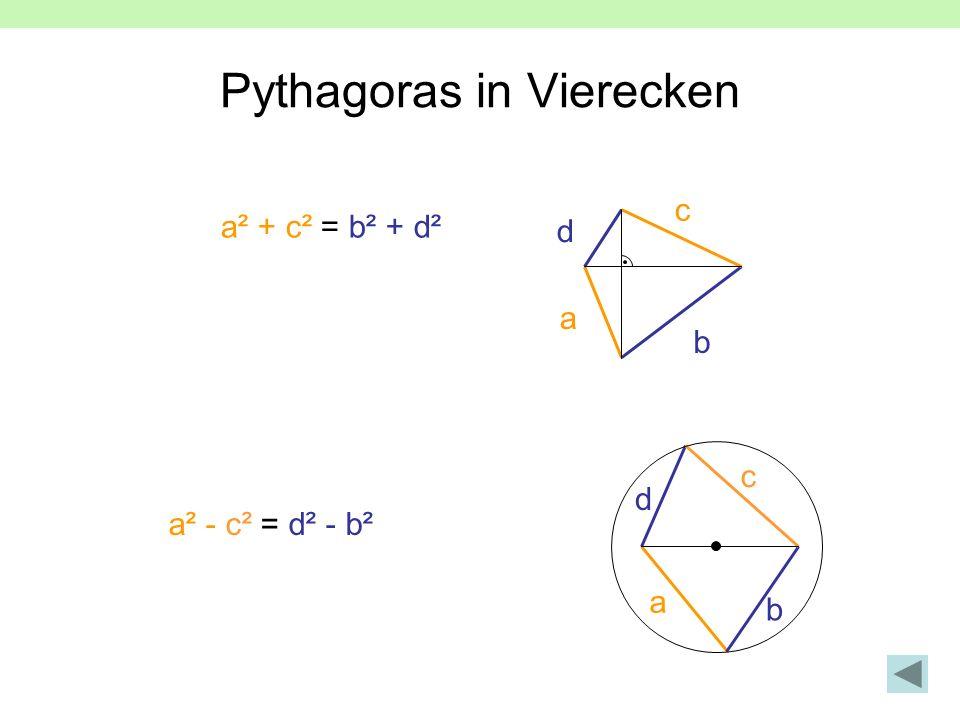 Pythagoras in Vierecken a² + c² = b² + d² a b c d a² - c² = d² - b² a b c d