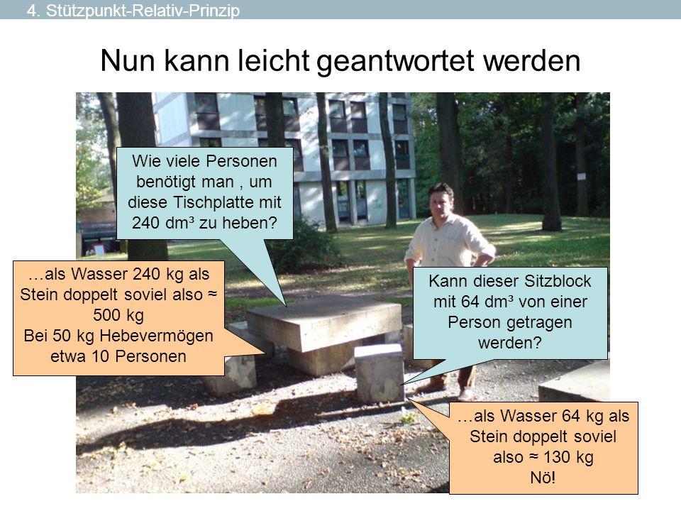 Nun kann leicht geantwortet werden Kann dieser Sitzblock mit 64 dm³ von einer Person getragen werden? Wie viele Personen benötigt man, um diese Tischp