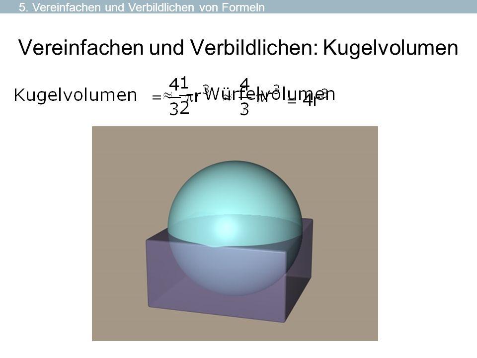 Vereinfachen und Verbildlichen: Kugelvolumen 5. Vereinfachen und Verbildlichen von Formeln