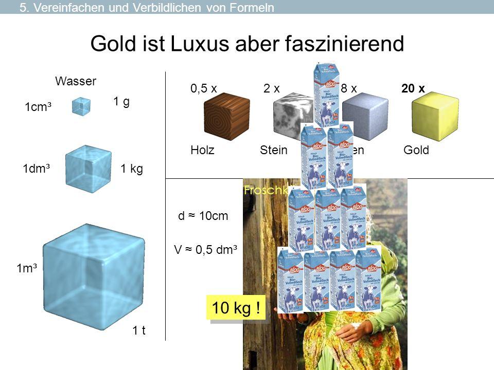 Gold ist Luxus aber faszinierend 1cm³ 1 g 1dm³ 1m³ 1 kg 1 t Holz 0,5 x Stein 2 x Eisen 8 x Wasser V 0,5 dm³ Gold 20 x d 10cm Froschkönig 10 kg ! 5. Ve