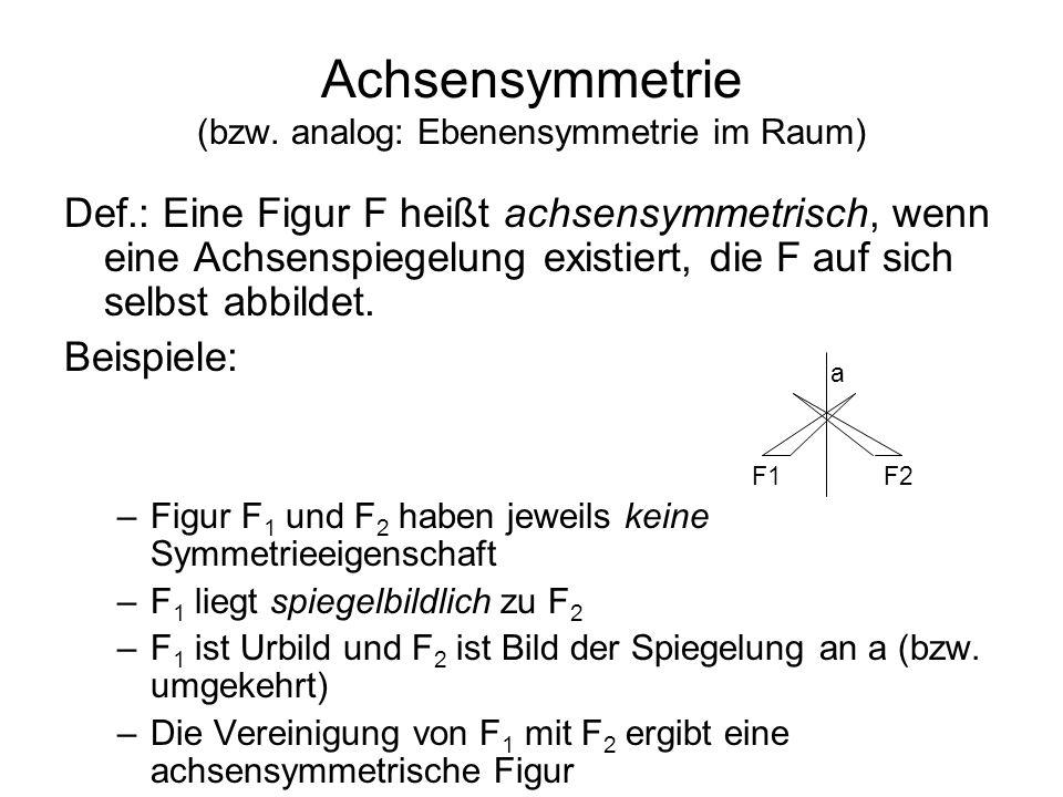 Achsensymmetrie (bzw. analog: Ebenensymmetrie im Raum) Def.: Eine Figur F heißt achsensymmetrisch, wenn eine Achsenspiegelung existiert, die F auf sic