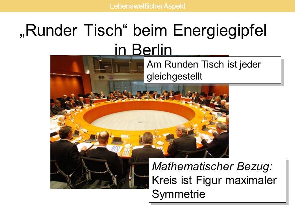 Runder Tisch beim Energiegipfel in Berlin Am Runden Tisch ist jeder gleichgestellt Mathematischer Bezug: Kreis ist Figur maximaler Symmetrie Mathemati