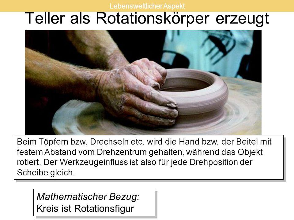 Teller als Rotationskörper erzeugt Beim Töpfern bzw. Drechseln etc. wird die Hand bzw. der Beitel mit festem Abstand vom Drehzentrum gehalten, während