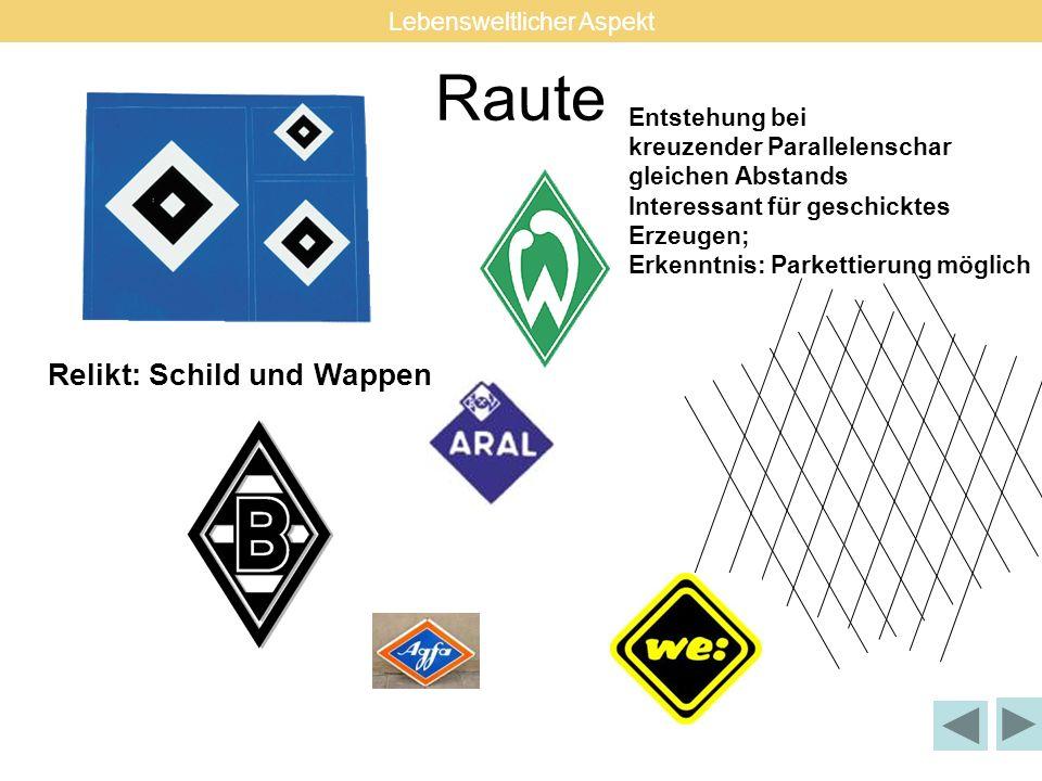 Raute Relikt: Schild und Wappen Entstehung bei kreuzender Parallelenschar gleichen Abstands Interessant für geschicktes Erzeugen; Erkenntnis: Parketti