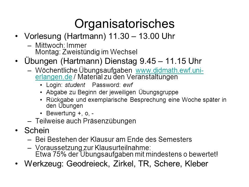 Organisatorisches Vorlesung (Hartmann) 11.30 – 13.00 Uhr –Mittwoch: Immer Montag: Zweistündig im Wechsel Übungen (Hartmann) Dienstag 9.45 – 11.15 Uhr